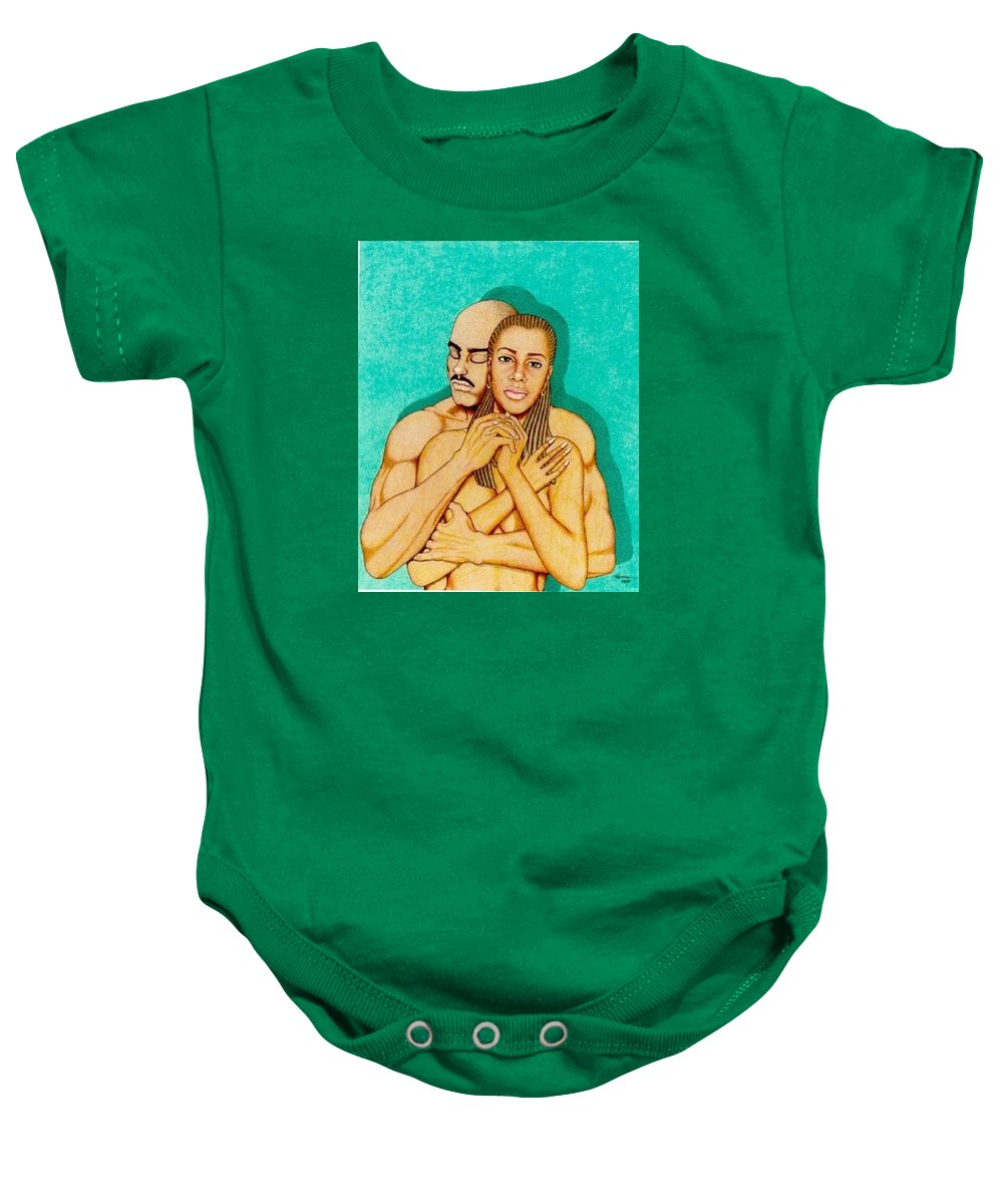 Romance Baby Onesie featuring the drawing Where Umoja Begins by Jay Thomas II