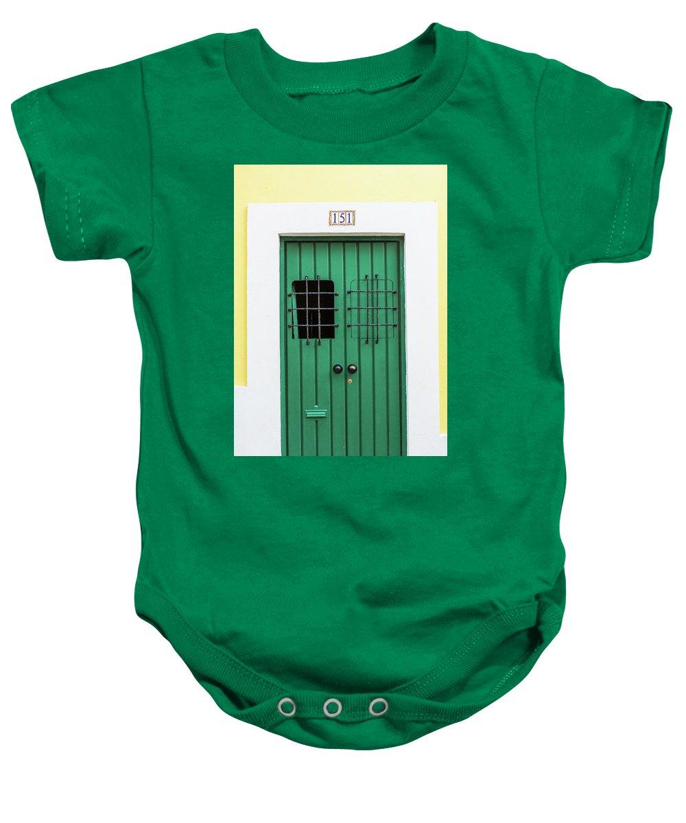 Green Door Baby Onesie featuring the photograph Wooden Door In Old San Juan, Puerto Rico by Jasmin Burton