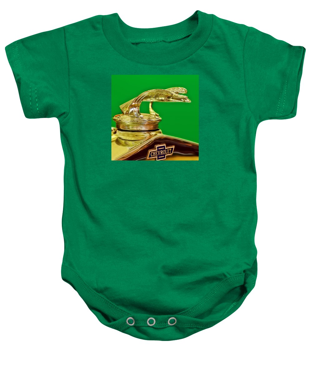 1932 Chevrolet Baby Onesie featuring the photograph 1932 Chevrolet Eagle Hood Ornament by Ginger Wakem