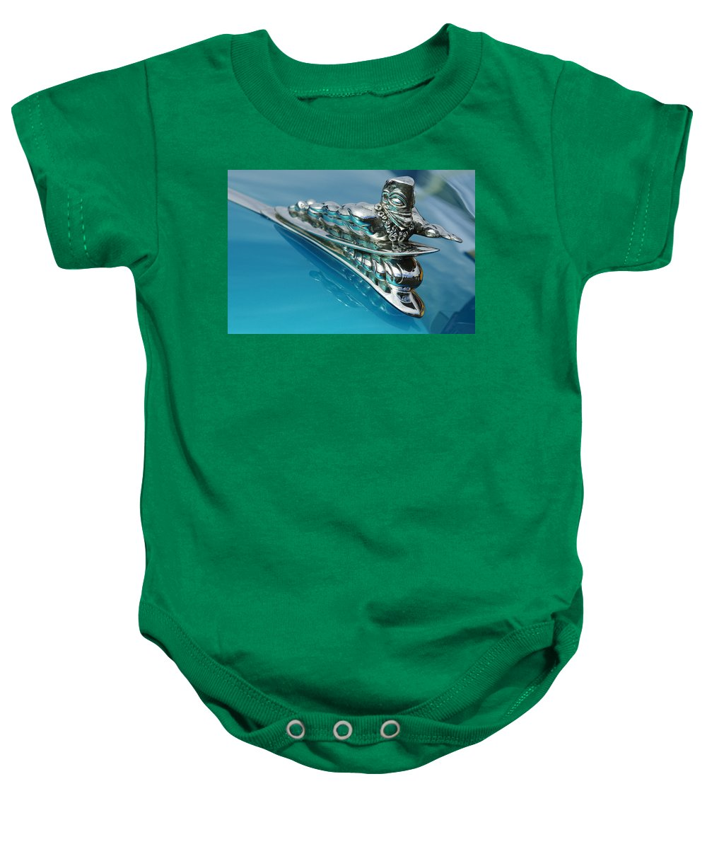 1950 Woodie Wagon Baby Onesie featuring the photograph 1950 Woodie Wagon One Of A Kind Hood Ornament 2 by Jill Reger