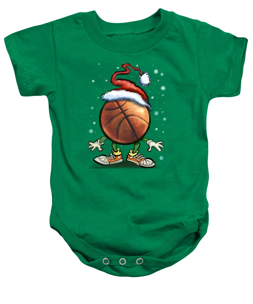 Basketball Baby Onesie featuring the digital art Basketball Christmas by Kevin Middleton
