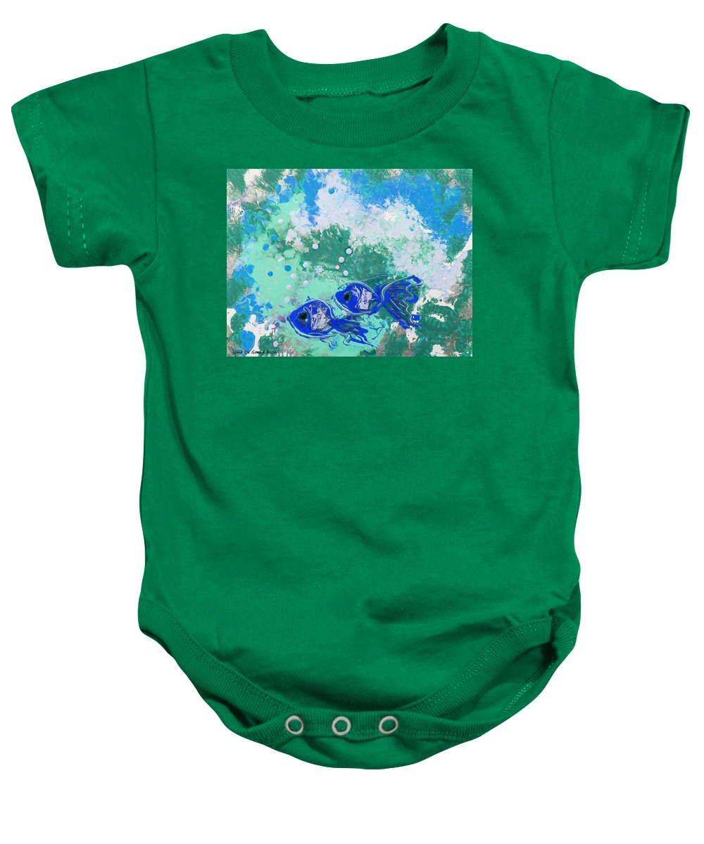 Fish Baby Onesie featuring the painting 2 Blue Fish by Gina De Gorna