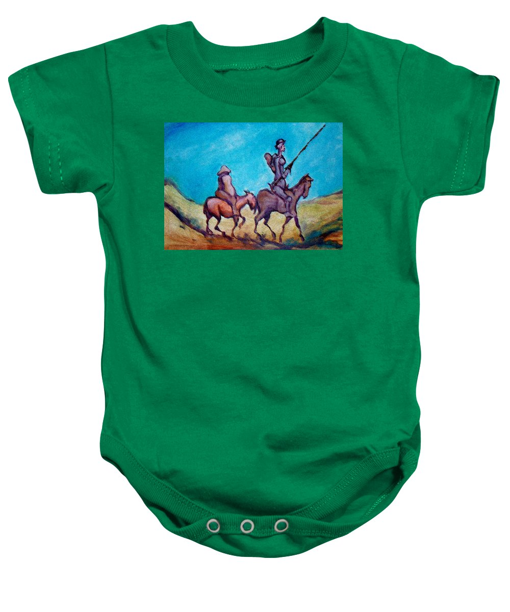 Don Quixote Baby Onesie featuring the painting Don Quixote by Kevin Middleton