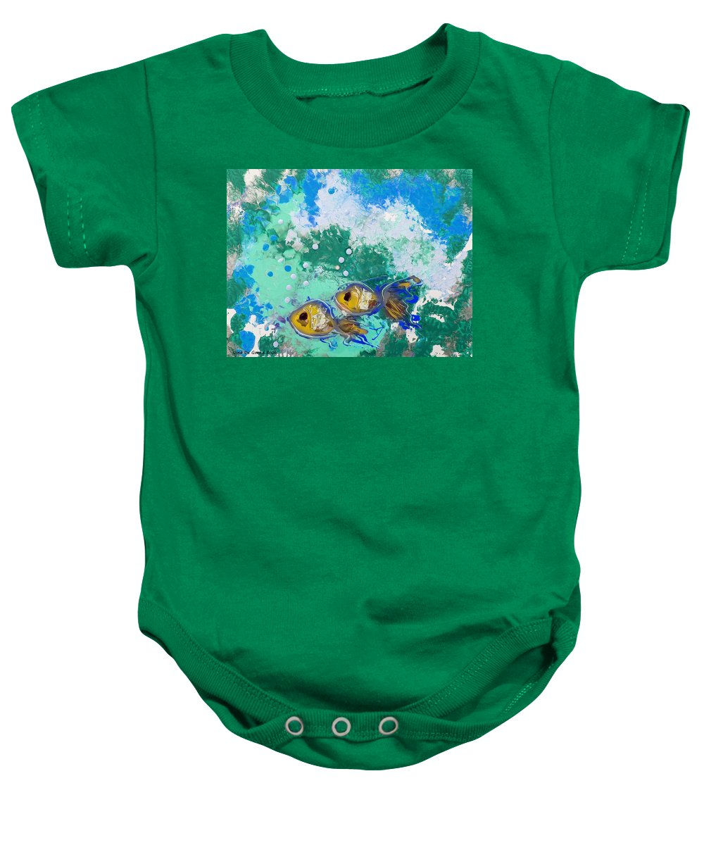 Fish Baby Onesie featuring the painting 2 Fish by Gina De Gorna