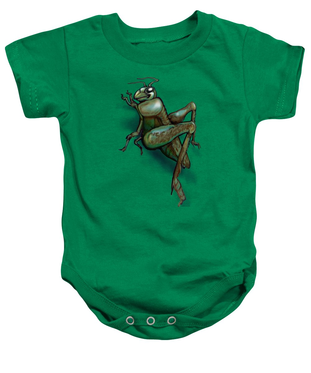 Grasshopper Baby Onesie featuring the painting Grasshopper by Kevin Middleton
