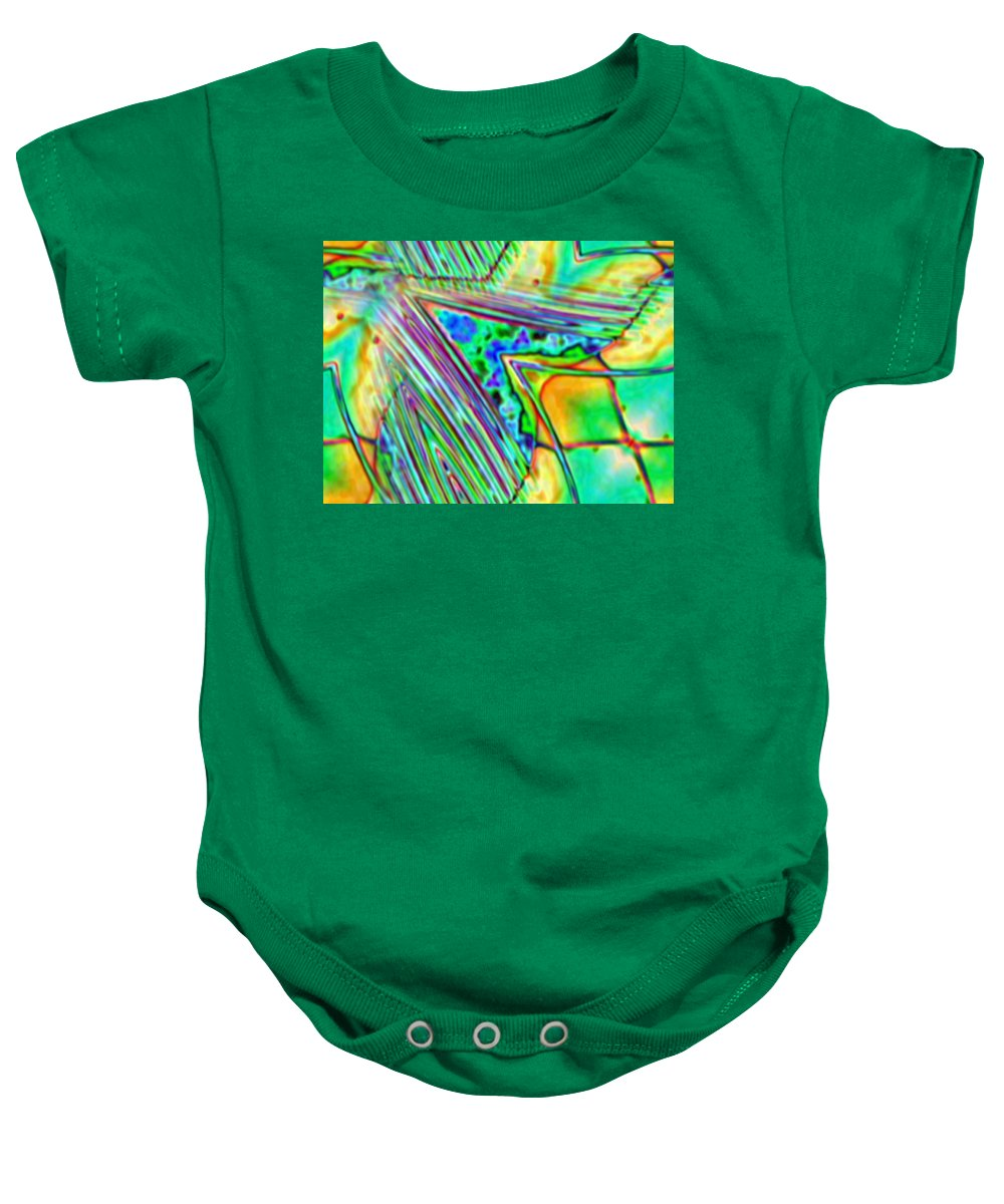 Green Baby Onesie featuring the digital art 53 by John Holfinger