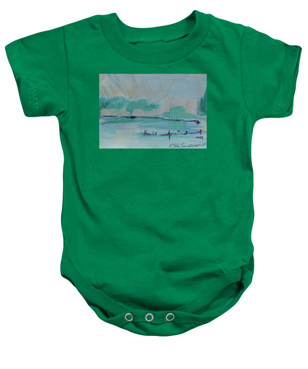 Christian Baby Onesie featuring the painting A New Earth by Kathleen Sandoval