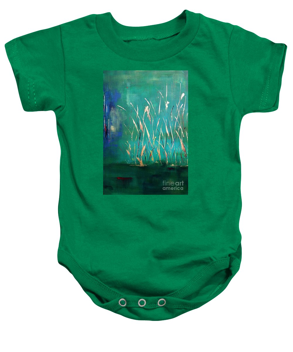 Abstract Landscape Baby Onesie featuring the painting A Touch Of Teal by Frances Marino