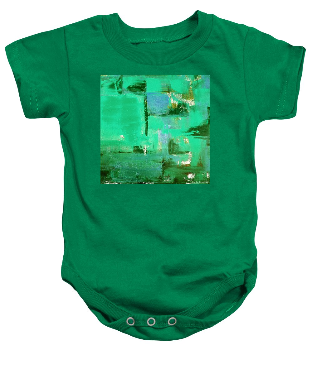 Abstract Baby Onesie featuring the painting Abstract In Green by Gina De Gorna