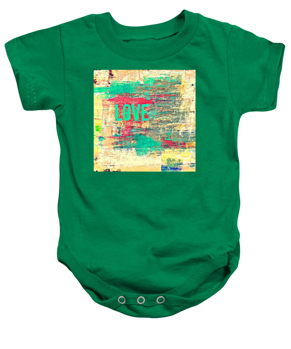 Brandi Fitzgerald Baby Onesie featuring the digital art Abstract Love V2 by Brandi Fitzgerald