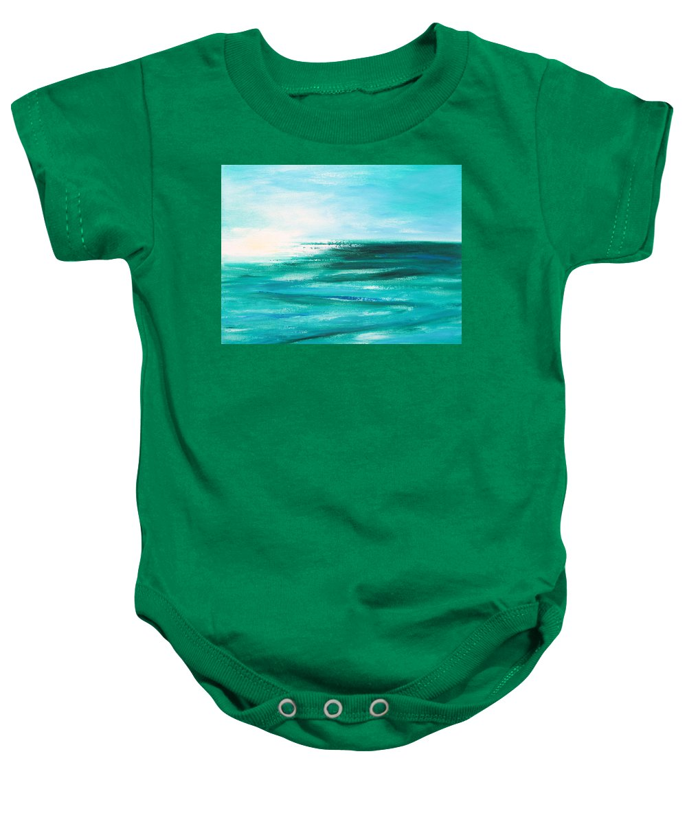 Abstracts Baby Onesie featuring the painting Abstract Sunset In Blue And Green 2 by Gina De Gorna