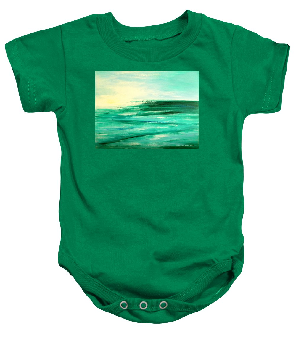 Sunsets Baby Onesie featuring the painting Abstract Sunset In Blue And Green by Gina De Gorna