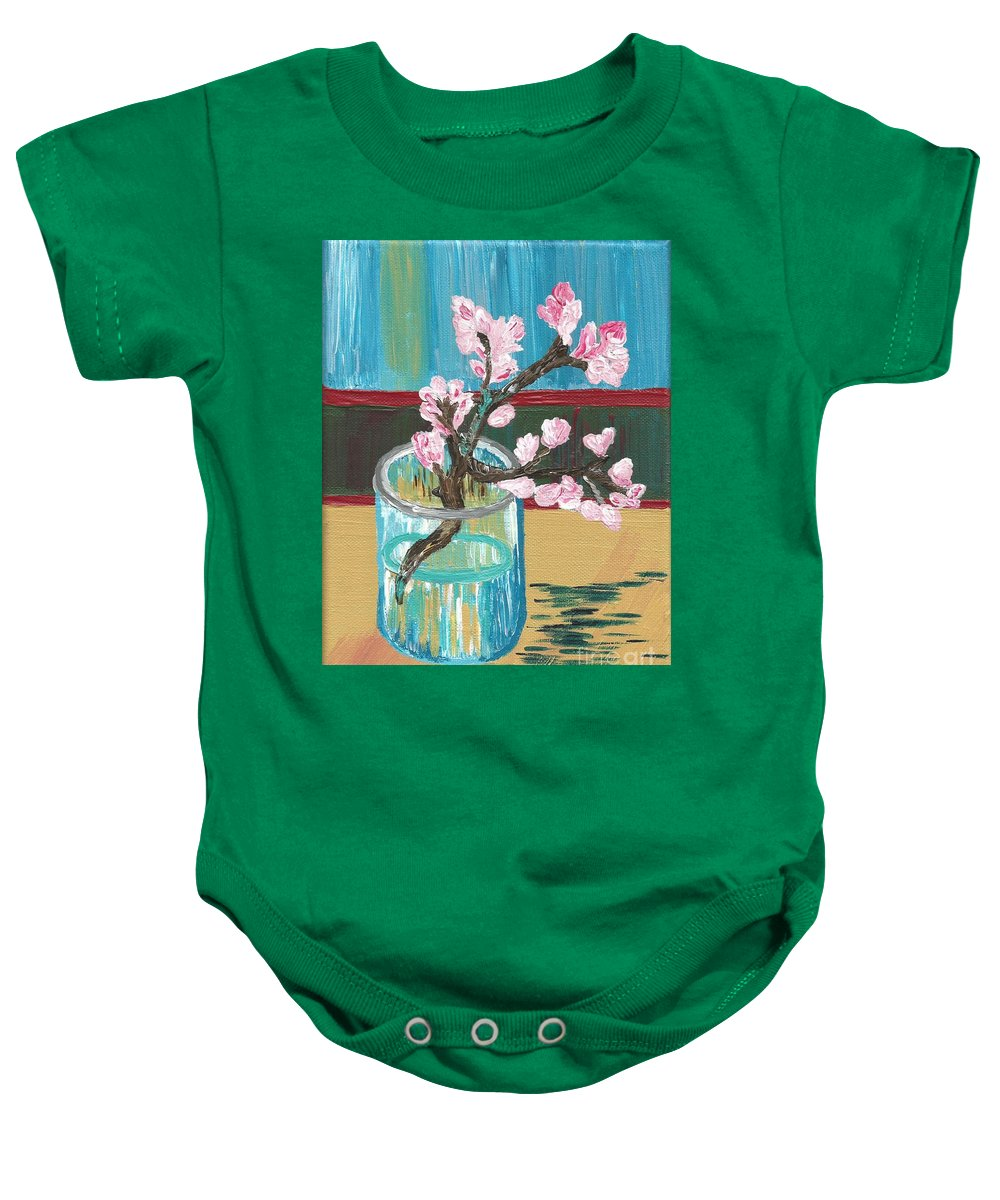 Almond Baby Onesie featuring the painting Almond Blossoms In A Glass by Melissa Vijay Bharwani