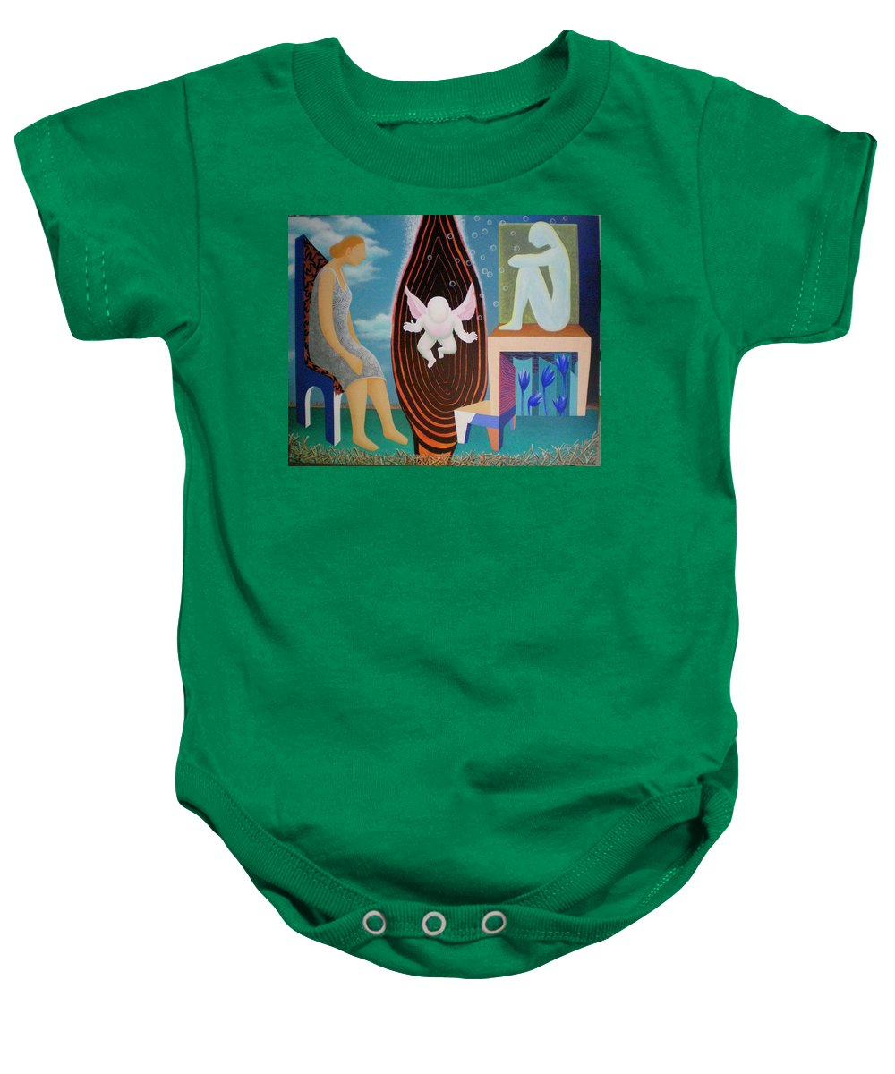 Figurative Baby Onesie featuring the painting Await by Raju Bose