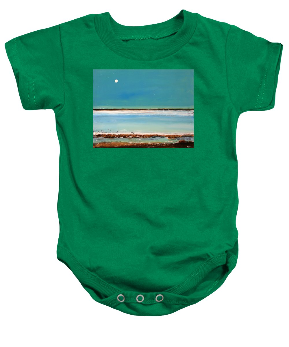 Landscape Baby Onesie featuring the painting Beach Textures by Toni Grote