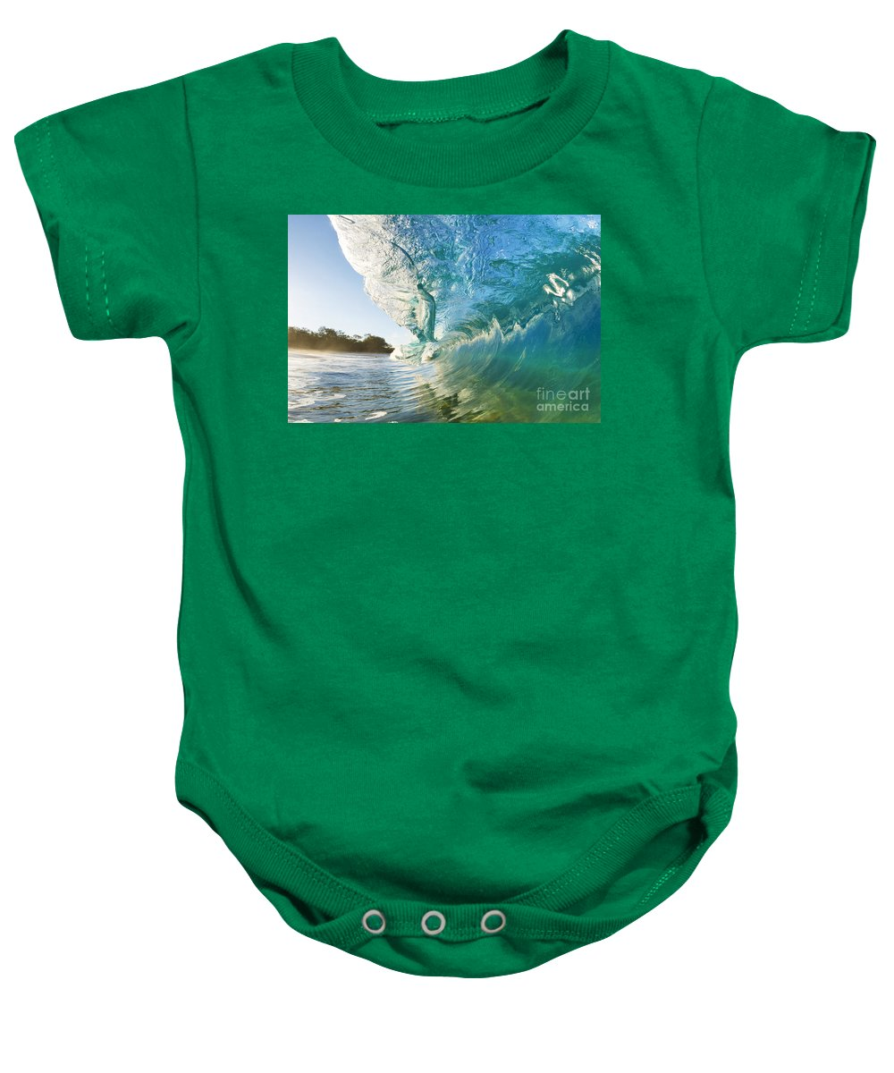 Aqua Baby Onesie featuring the photograph Beautiful Wave And Sunlight by MakenaStockMedia