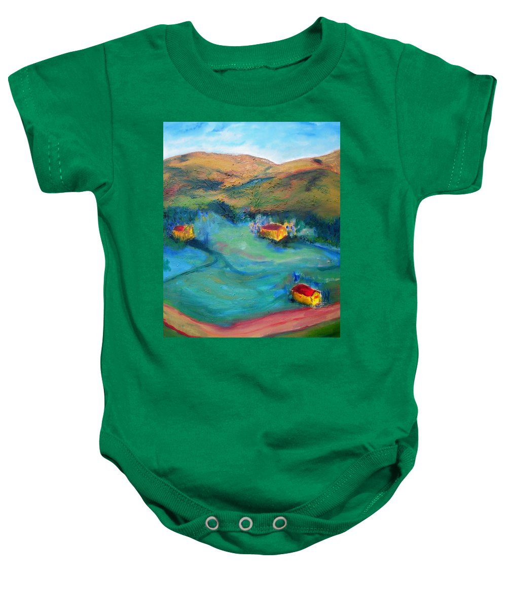 Landscape Baby Onesie featuring the painting Beit Shemesh by Suzanne Udell Levinger