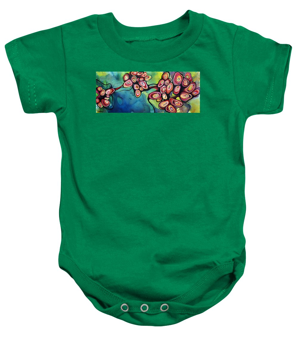 Abstract Baby Onesie featuring the painting Bliss And Detachment by Darcy Lee Saxton