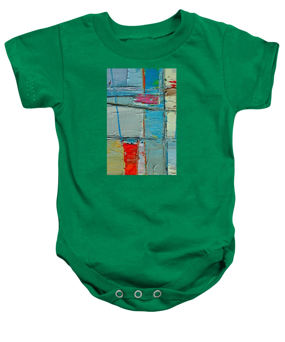 Abstract Baby Onesie featuring the painting Blue Abstract by Ana Maria Edulescu