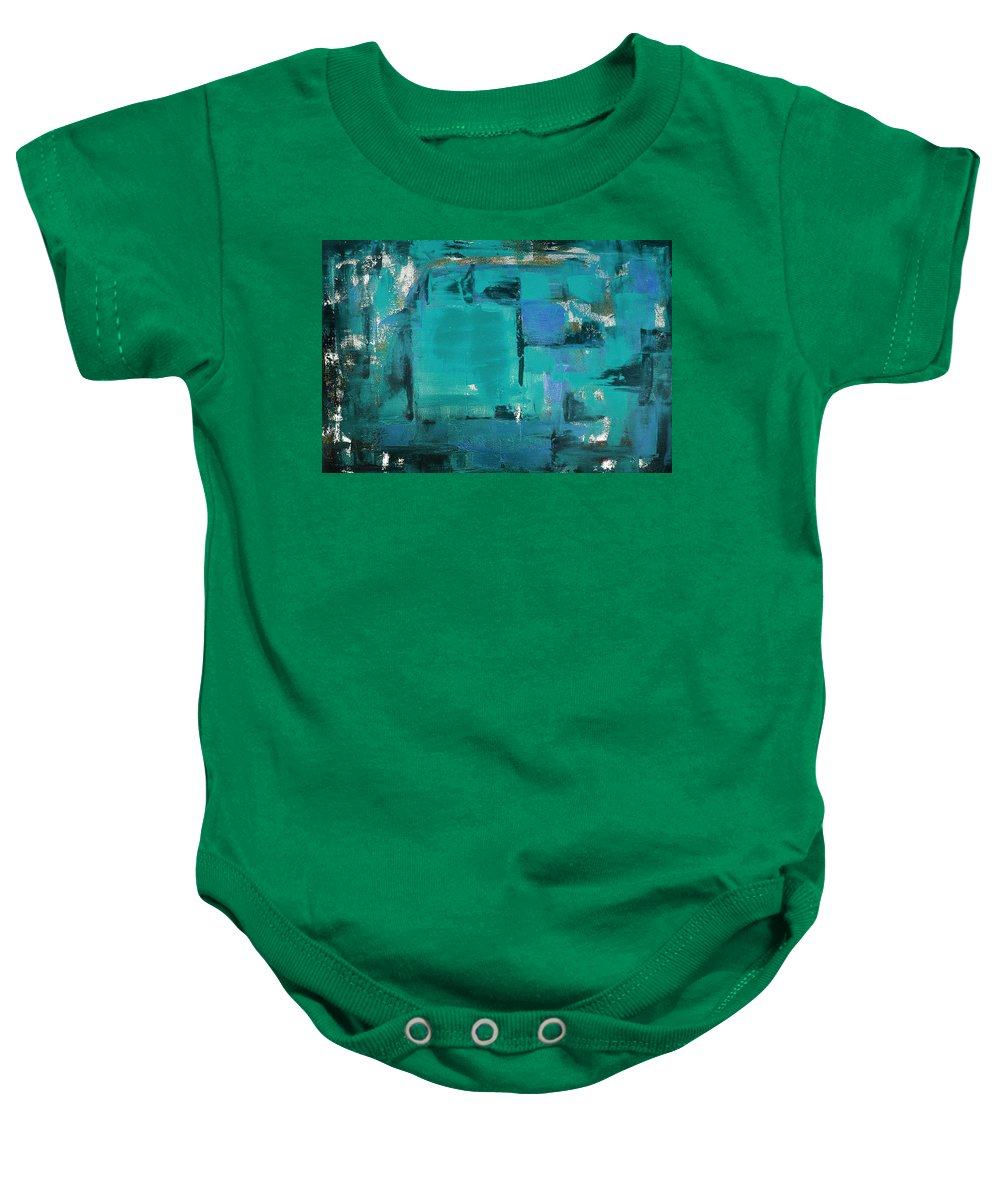 Abstract Baby Onesie featuring the painting Blue Abstract by Gina De Gorna