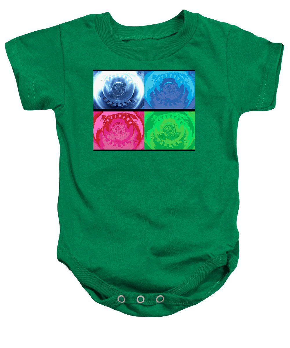 Abstract Baby Onesie featuring the photograph Bulbs In The Style Of Warhol by Scott Wyatt