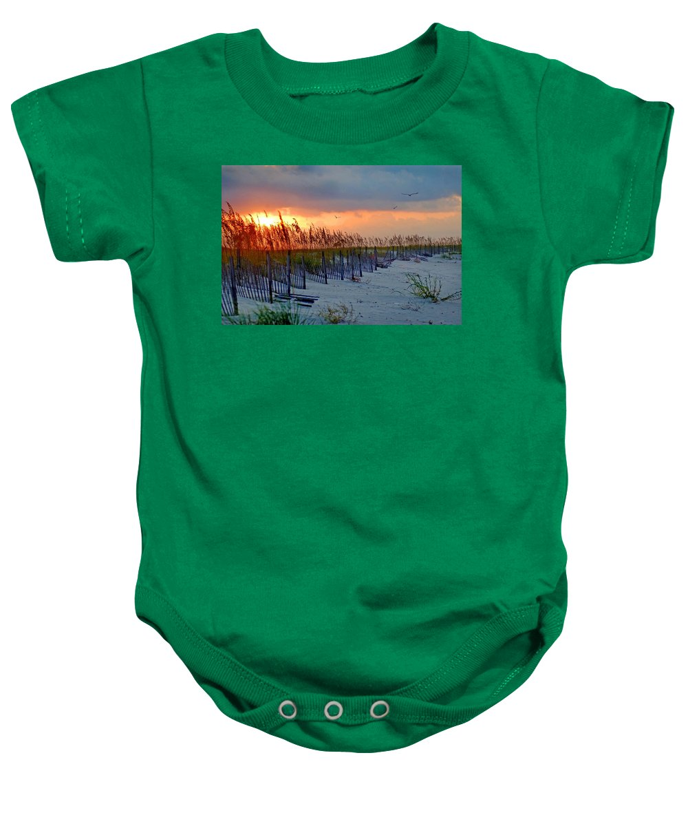 Pelican Baby Onesie featuring the painting Burning Grasses And The Fence by Michael Thomas