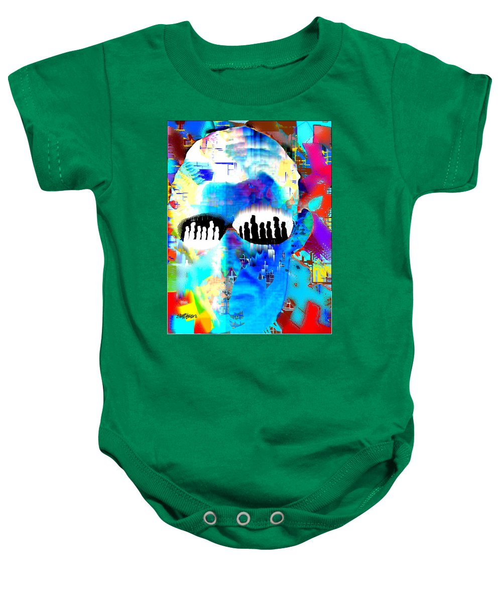 Button Down Baby Onesie featuring the digital art Button Down Disasters by Seth Weaver