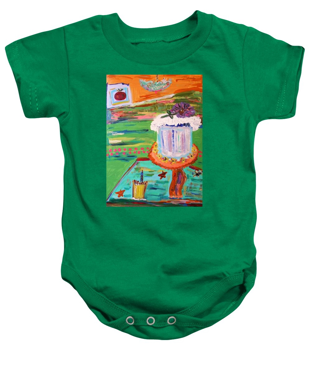 Cake Baby Onesie featuring the painting Cake And Lemonade by Mary Carol Williams