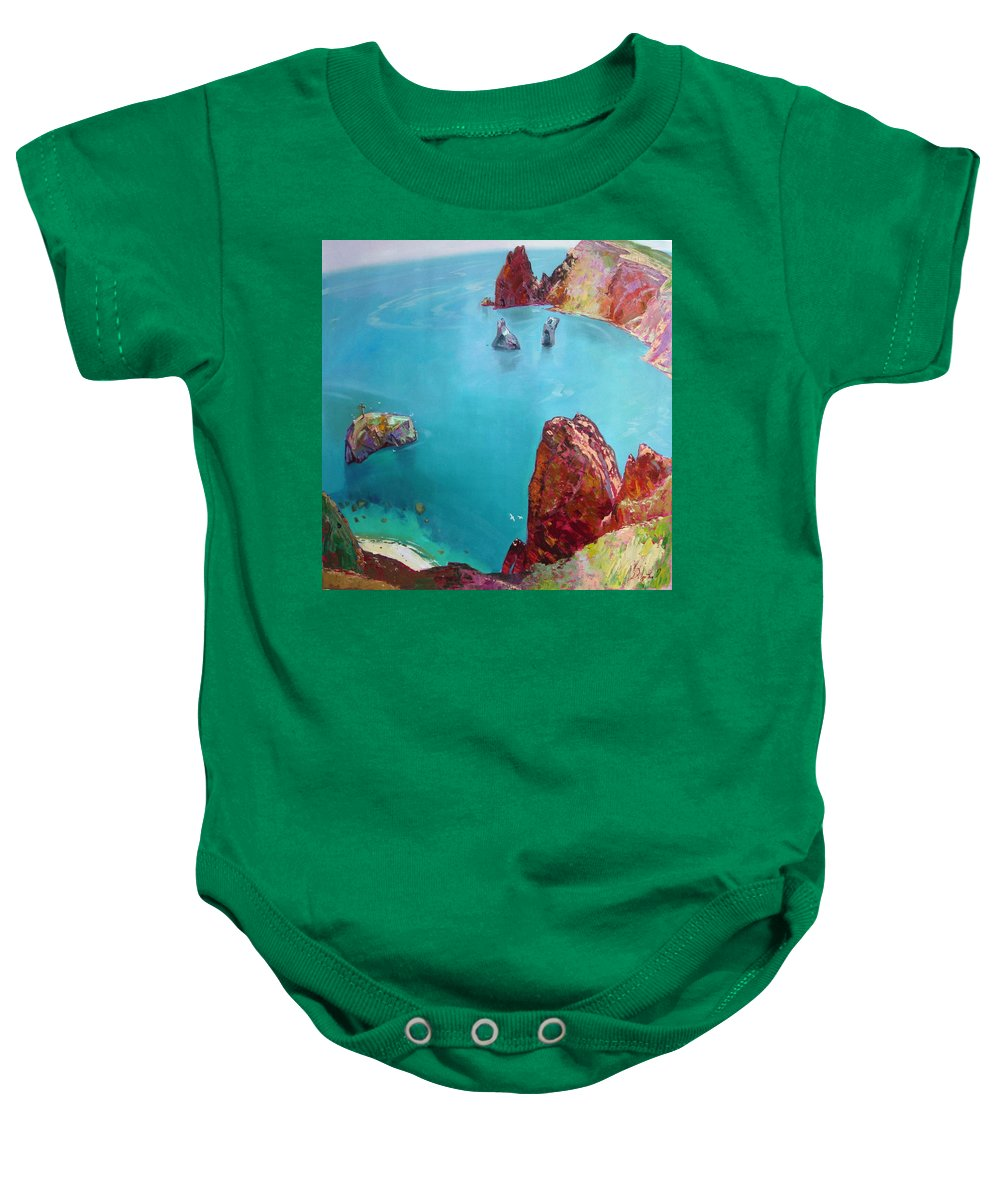 Ignatenko Baby Onesie featuring the painting Cape Fiolent by Sergey Ignatenko