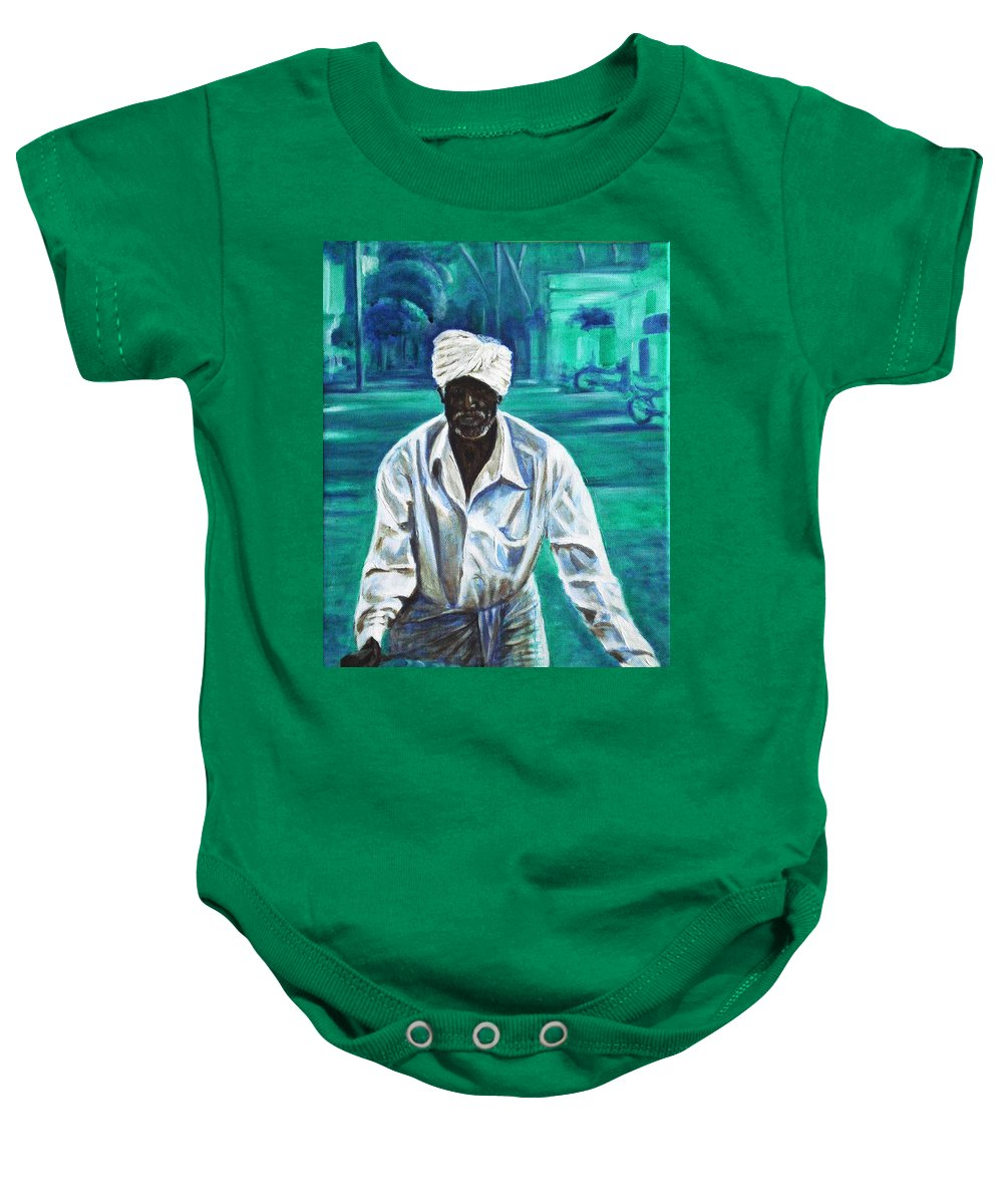 Indian Baby Onesie featuring the painting Cart Vendor by Usha Shantharam