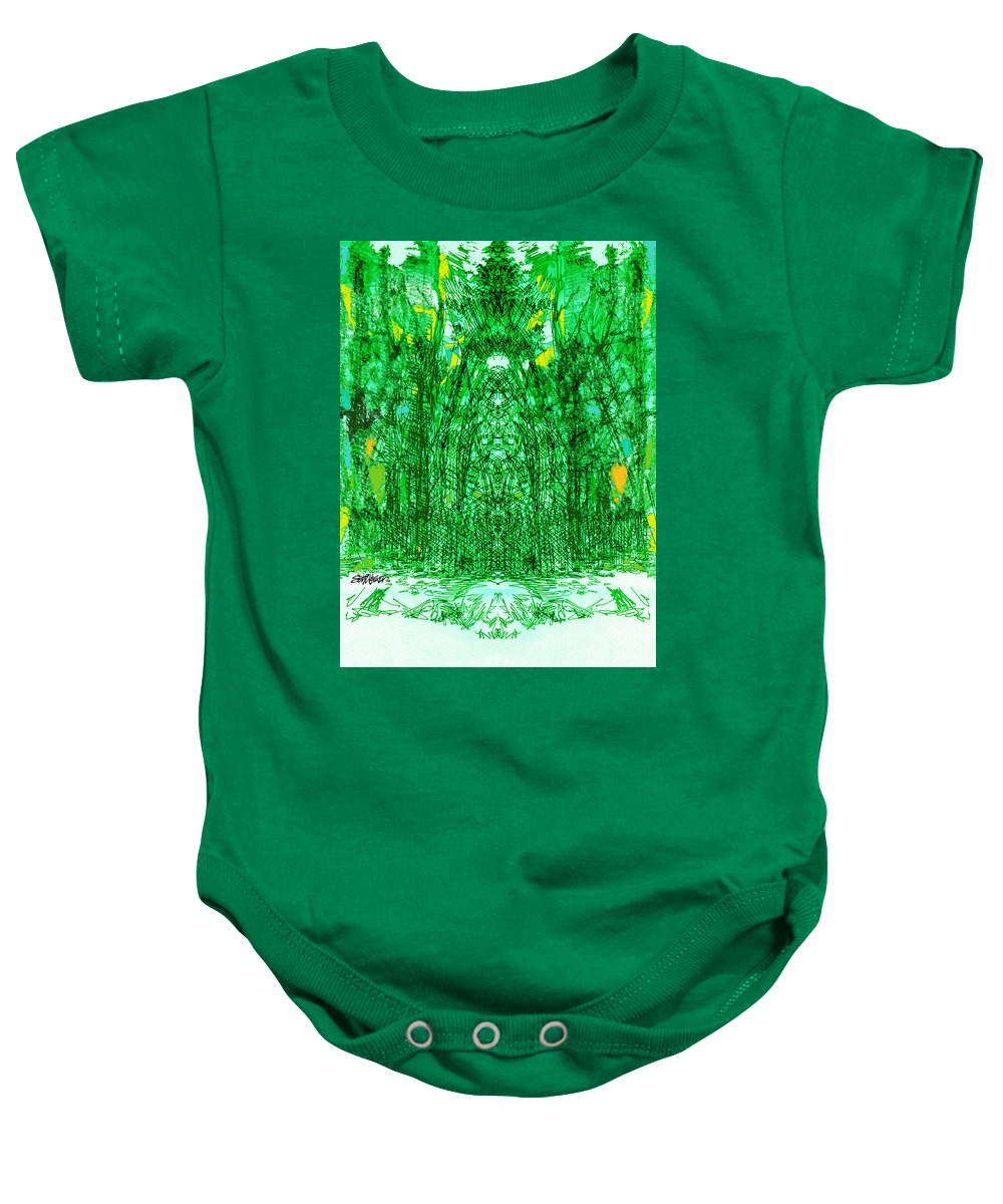 Cathedral Baby Onesie featuring the digital art Cathedral Of Trees by Seth Weaver