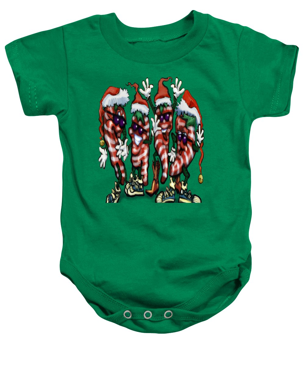 Christmas Baby Onesie featuring the digital art Christmas Candy Peppers Gang by Kevin Middleton