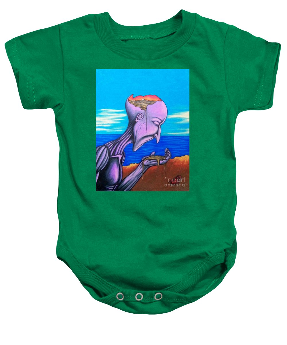 Michael Baby Onesie featuring the drawing Conscious Thought by Michael TMAD Finney