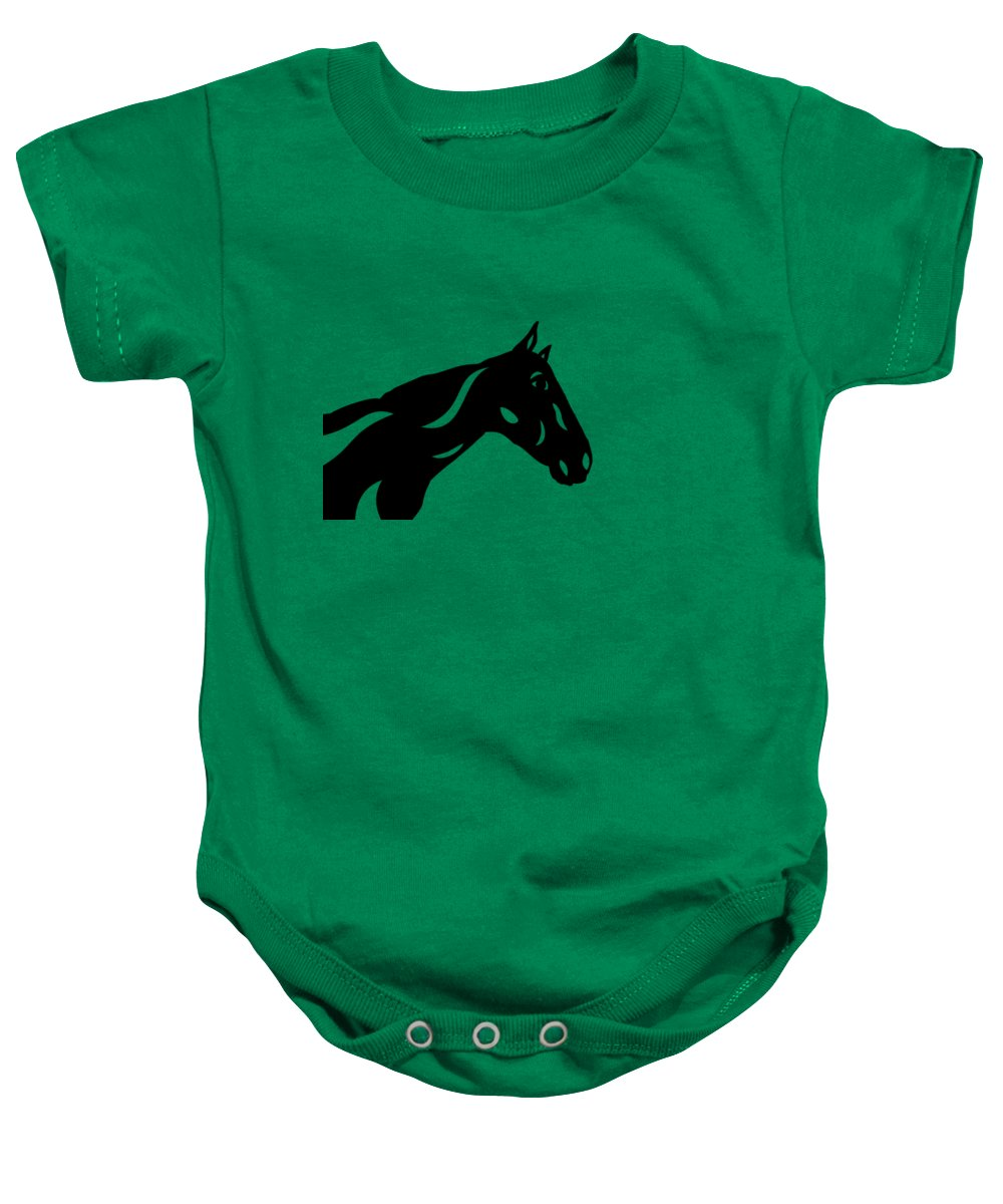 Horse Baby Onesie featuring the painting Crimson - Abstract Horse by Manuel Sueess