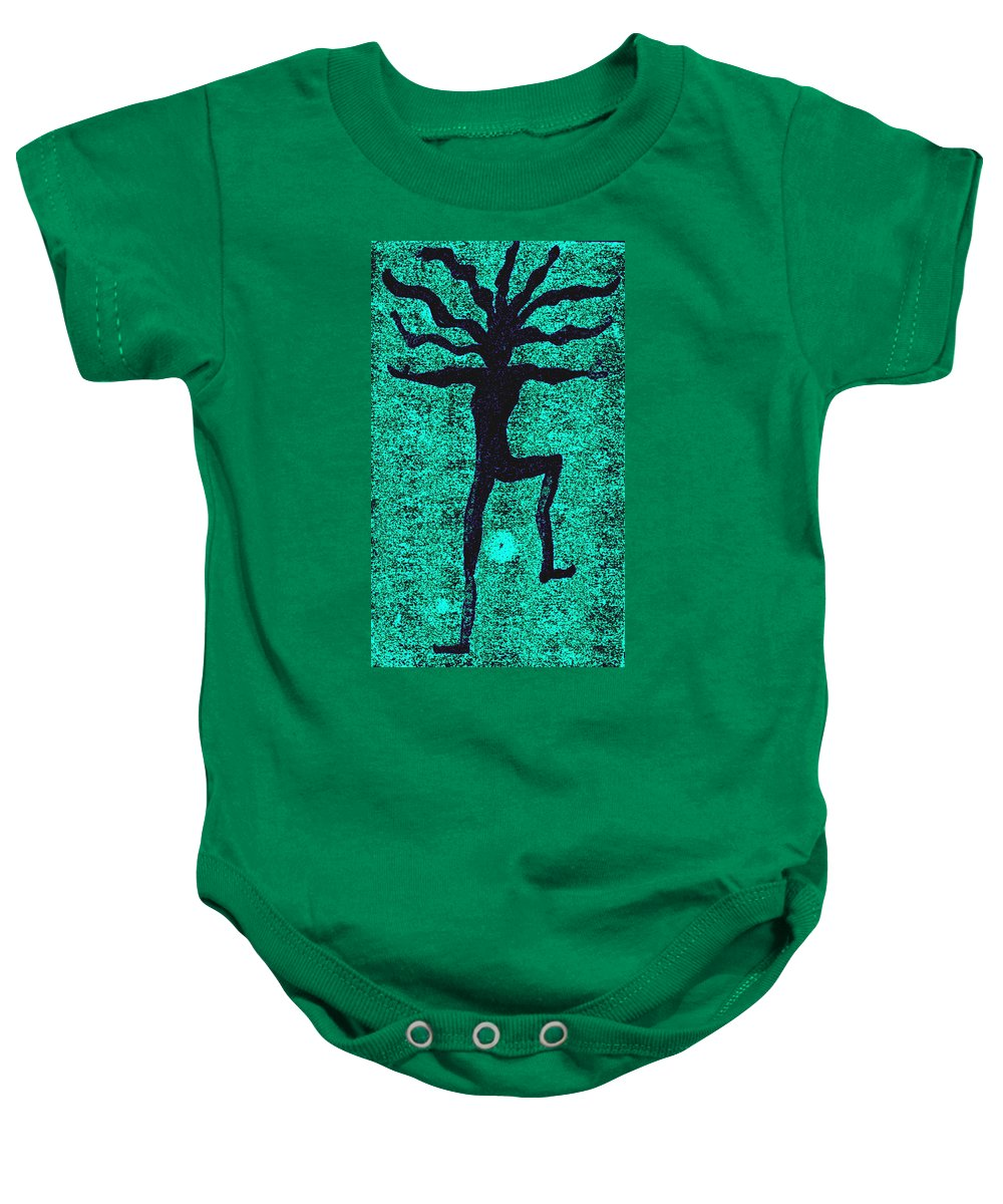 Dance Baby Onesie featuring the painting Dancing At The Creation Of The Green Earth by Wayne Potrafka