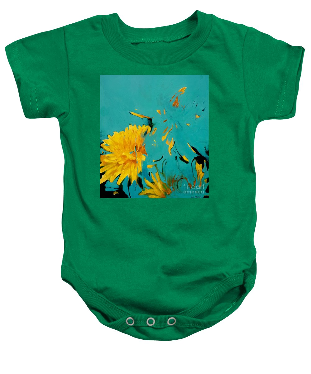 Lin Petershagen Baby Onesie featuring the painting Dandelion Summer by Lin Petershagen
