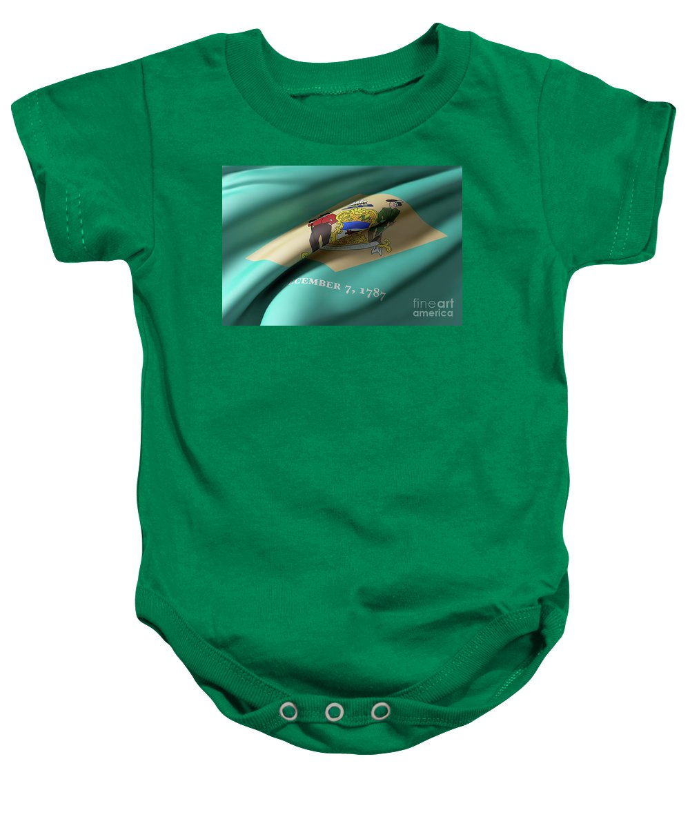 Delaware Baby Onesie featuring the digital art Delaware State Flag by Enrique Ramos Lopez