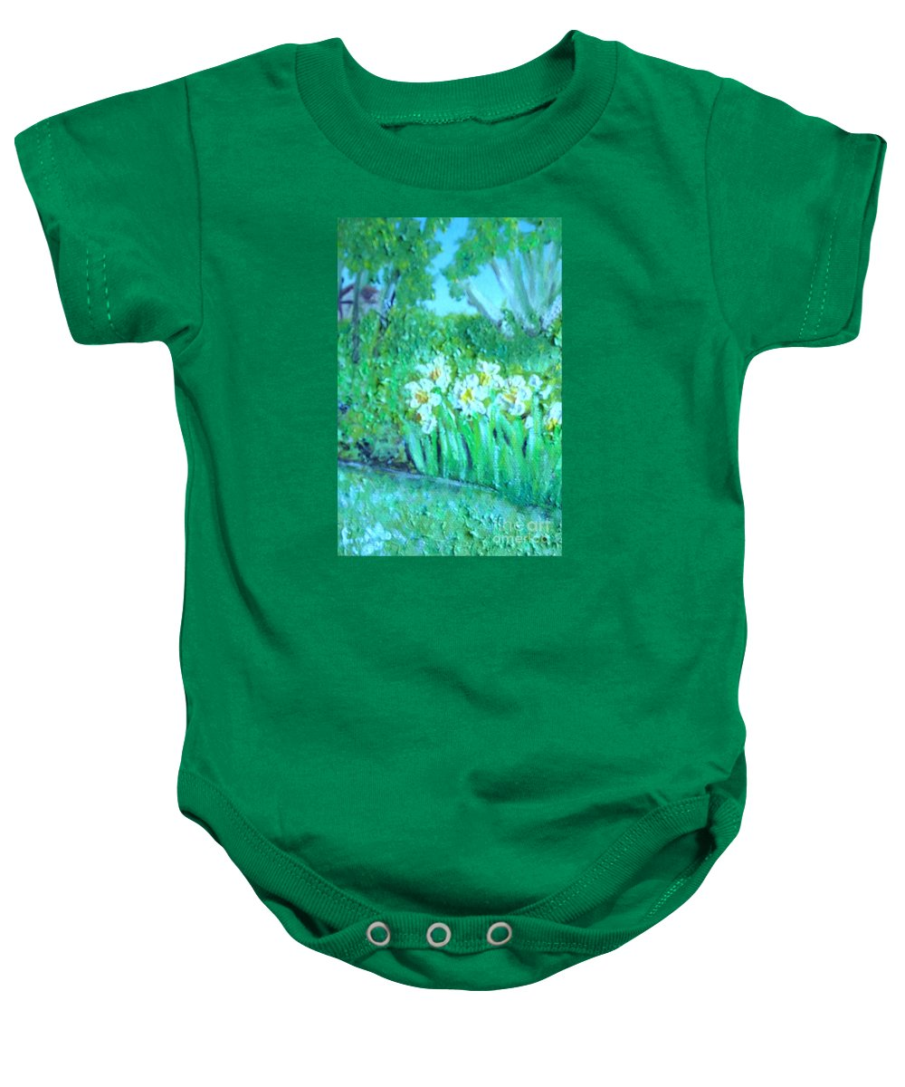 Daffodils Baby Onesie featuring the painting Dependable Daffodils by Laurie Morgan