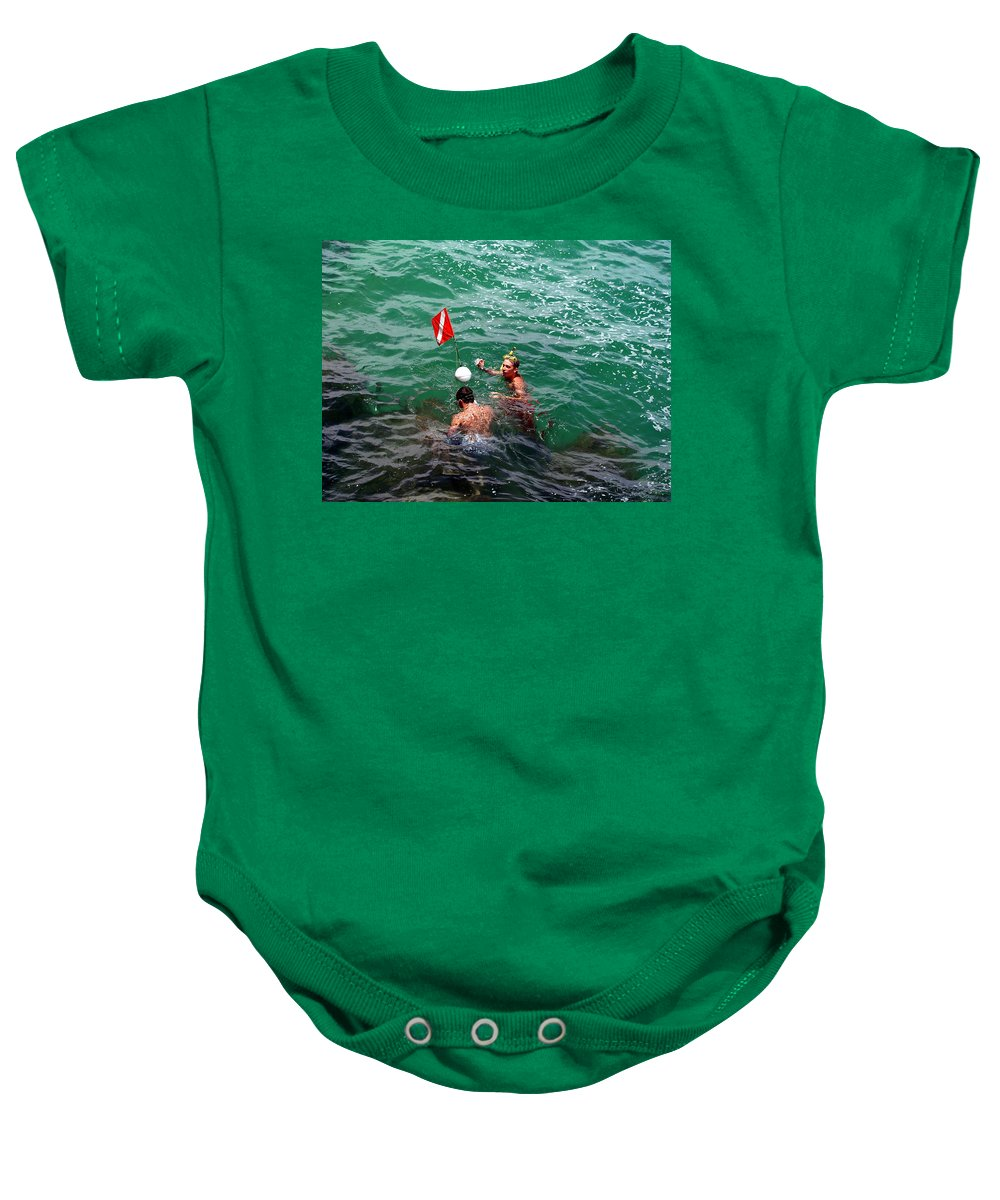 Boys Baby Onesie featuring the photograph Divers At Sebastian Inlet On The Atlantic Coast Of Florida by Allan Hughes