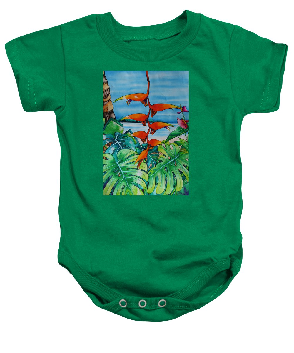Heliconia Baby Onesie featuring the painting Dominican Heliconia by Helen Weston