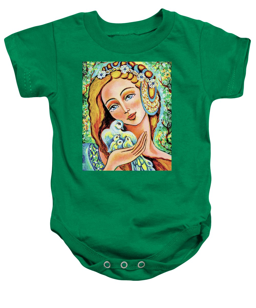 Forest Fairy Baby Onesie featuring the painting Dove Forest Fairy by Eva Campbell
