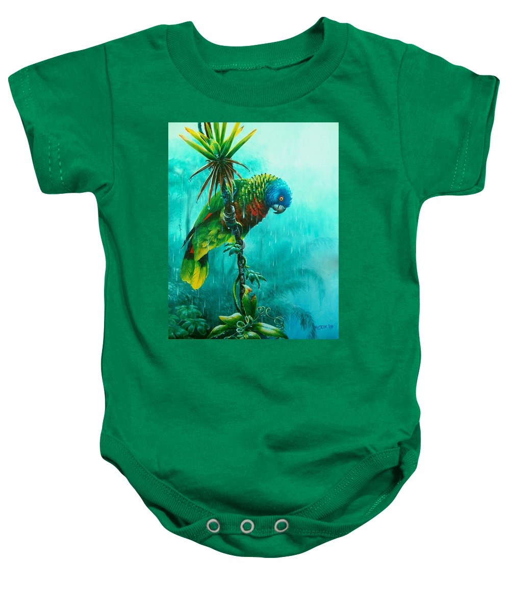 Chris Cox Baby Onesie featuring the painting Drenched - St. Lucia Parrot by Christopher Cox