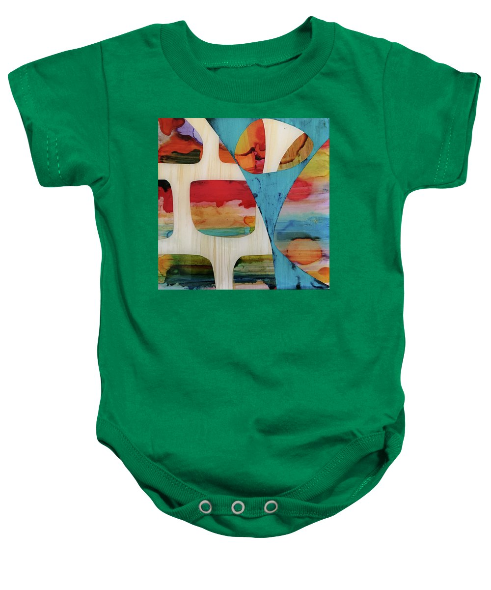 Alcohol Ink Baby Onesie featuring the mixed media Dvong #24 by Daniela von G