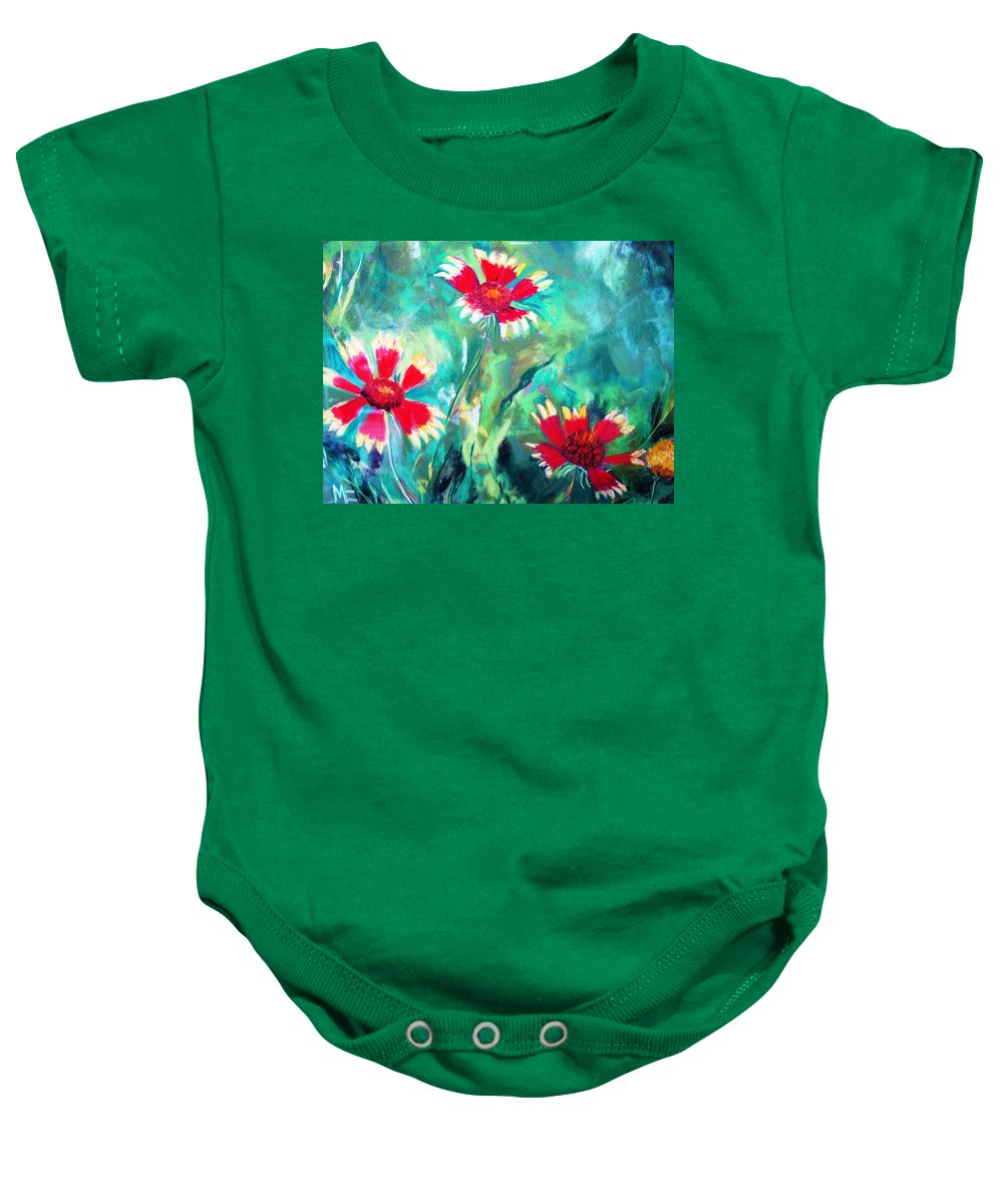 Flowers Baby Onesie featuring the painting East Texas Wild Flowers by Melinda Etzold