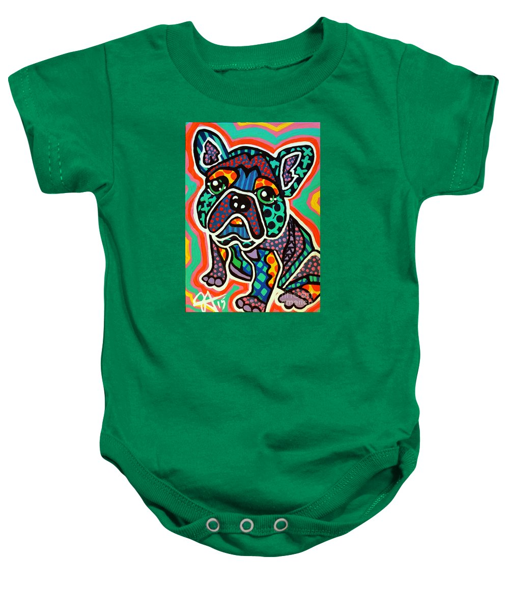 French Baby Onesie featuring the painting Eddie by Jackie Carpenter
