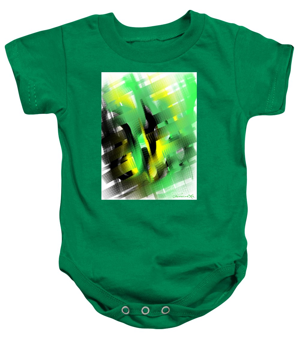 Abstract Baby Onesie featuring the painting Enthralled by Frances Ku