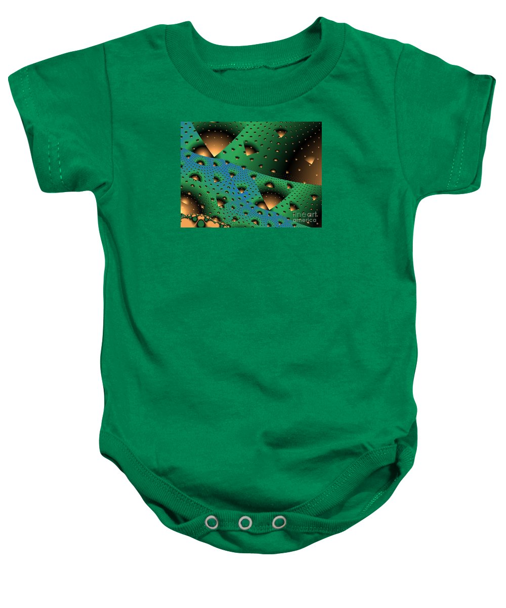 Fractal Art Baby Onesie featuring the digital art Facades And Fenestration by Ron Bissett