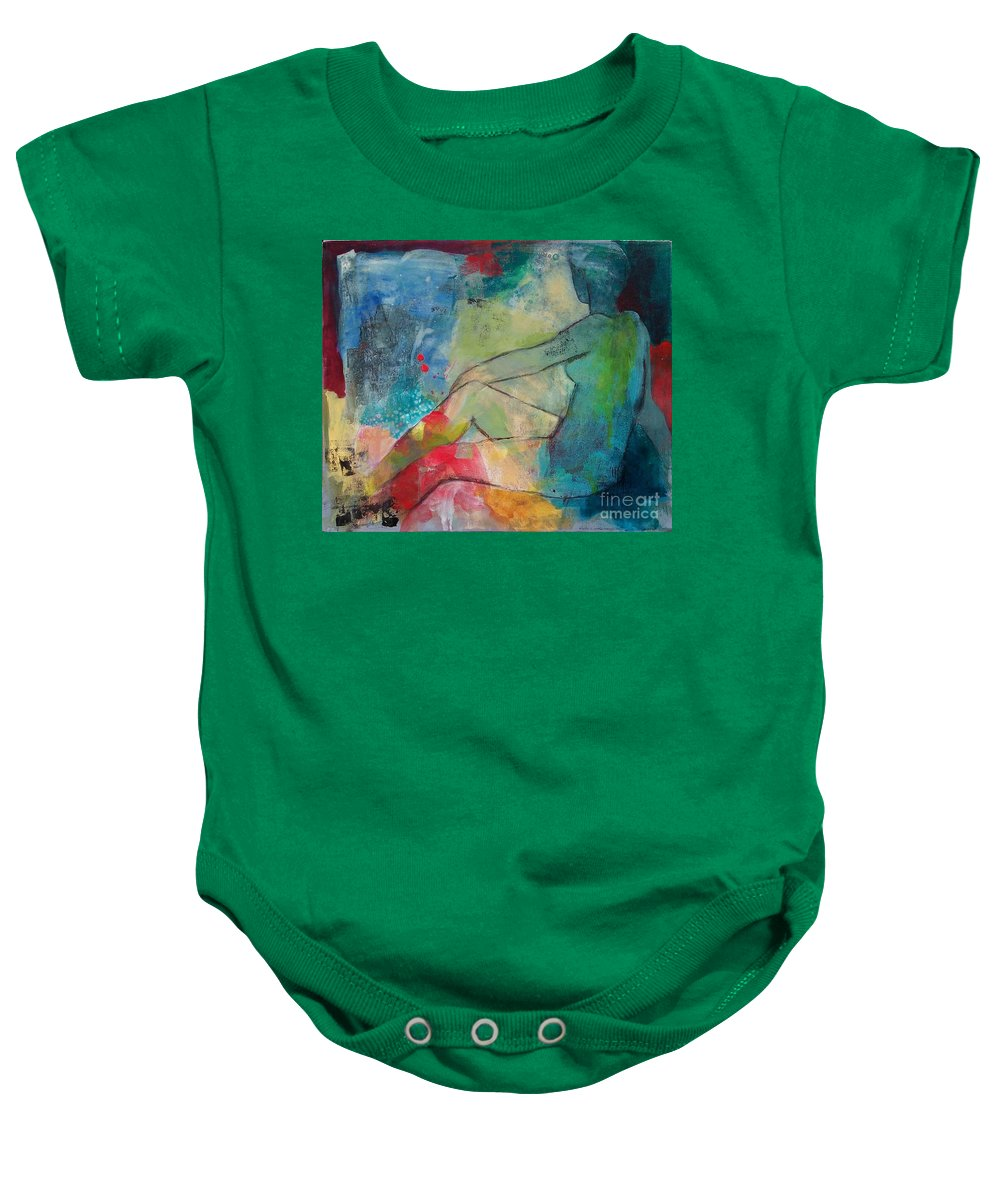 Abstract Figure Study Baby Onesie featuring the painting Figure Study 053 by Donna Frost