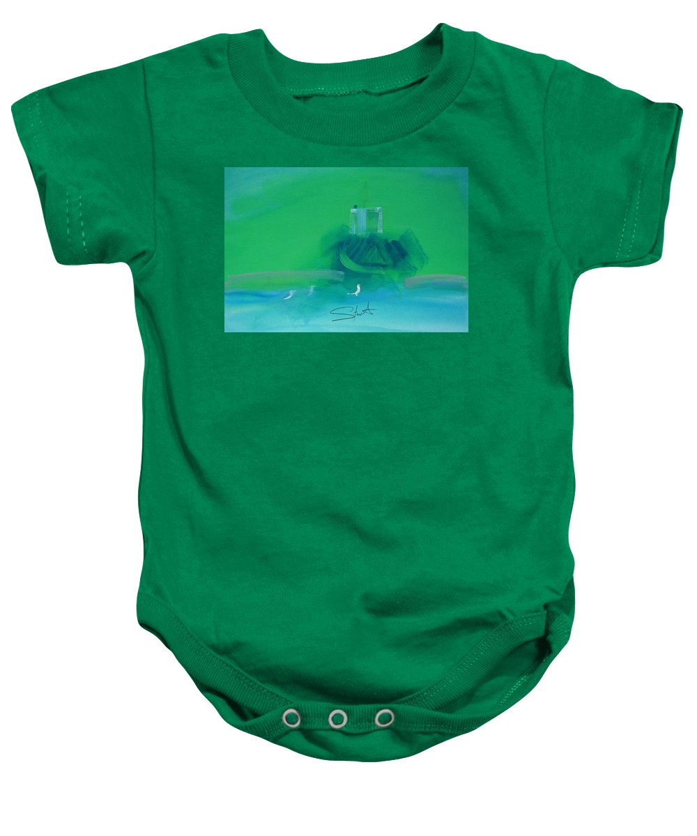 Fishing Boat Baby Onesie featuring the painting Fishing Boat With Seagulls by Charles Stuart