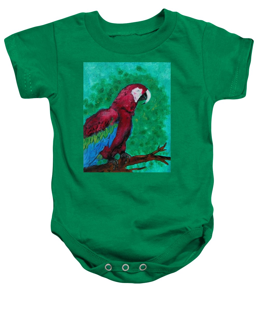 Parrot Baby Onesie featuring the painting Flying Colors by Cori Solomon